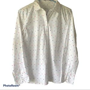 Talbots Multicolor Dobby Fabric Button-up Women's 8 Petite